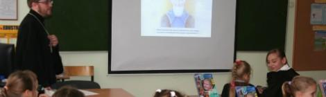 Встреча священника со школьниками в рамках празднования в этом году юбилейной даты – 700-летия преподобного Сергия Радонежского